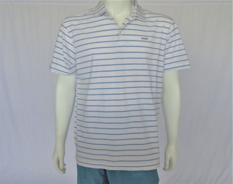 OPC pima cotton white/blue stripe short sleeve performance polo