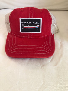 Unstructured red /tan hat Velcro back