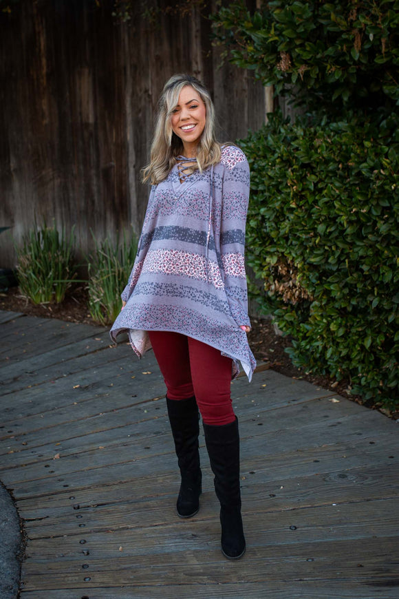 Floral Paths Long Sleeve Tunic