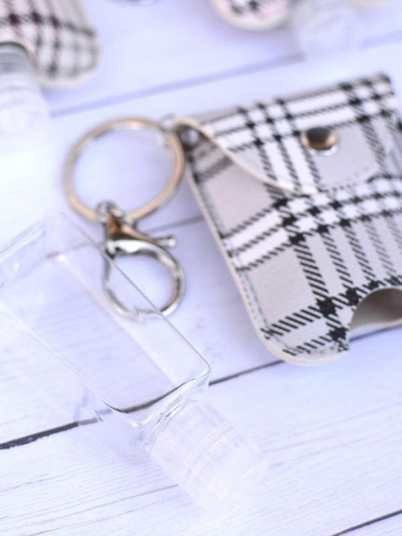 Grey & Black Plaid Hand Sani Keychain Holder