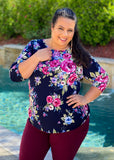 Floral Ruffles and Lace 3/4 Sleeve Top