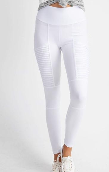 Moto Leggings in White