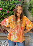 Ray of Sunshine Ruffle Short Sleeve Top