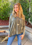 Falling Into Spring Long Sleeve Ruffle Top