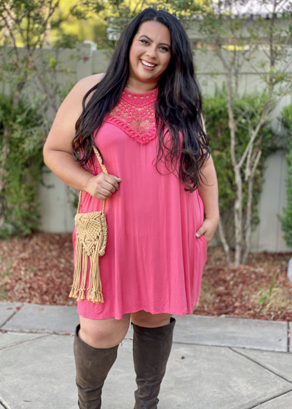 Wildest Dreams Halter Dress in Coral