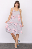 Dusty Floral Tiered Midi Dress