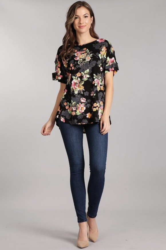 You Are Everything Floral Short Sleeve Top