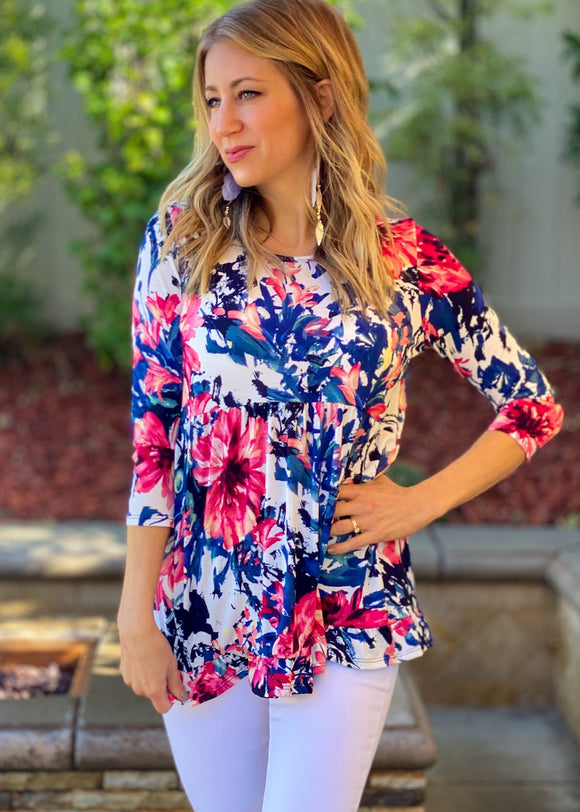 Navy and Bloom Babydoll Top