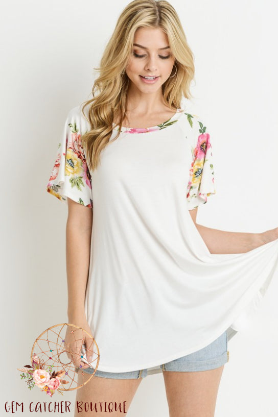 Floral Raglan Swing Top
