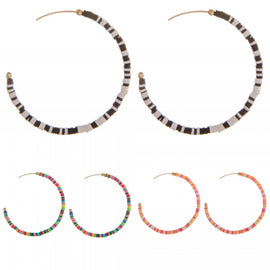 *Multicolor Beaded Hoop Earring-Choice of 3
