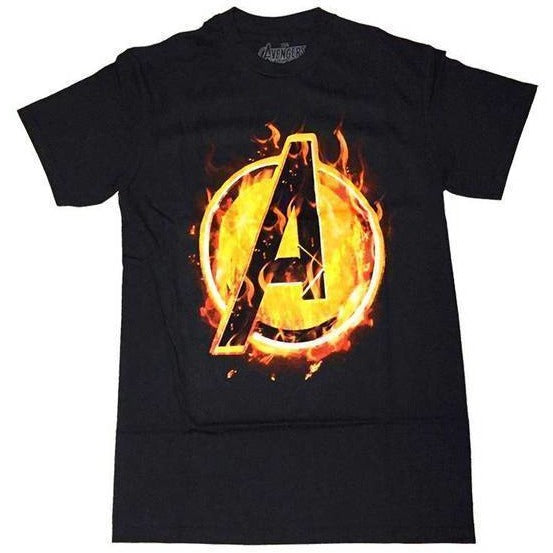Marvel Avengers On Fire Adult T-Shirt - Apparelholic