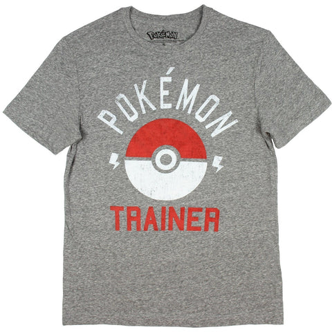 Pokemon Trainer Grey Pokeball Mens Tee T Shirt