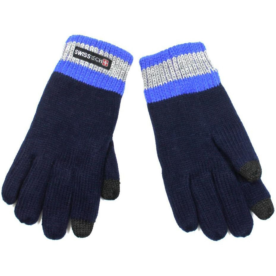 Swisstech Navy Knit Winter Texting Gloves