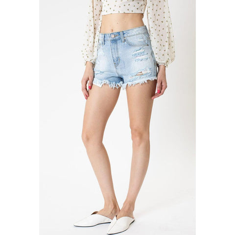 Celeste Contrast Stitching High Rise Shorts