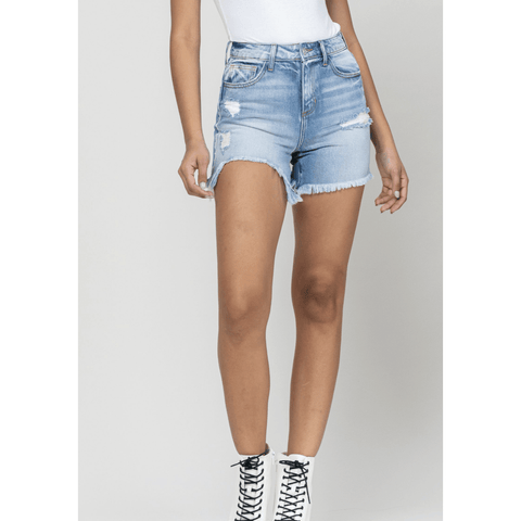 High Rise Uneven Hem Shorts - Southern Roots Clothing Company