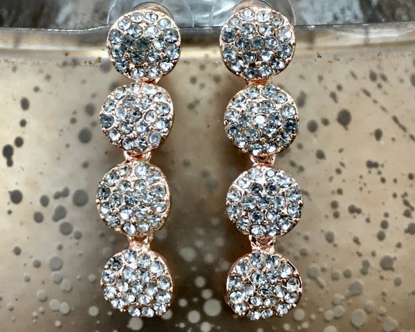 Crystal CZ 4 Round Tier CZ Stone Earrings, Rose Gold | Fashion Jewellery Outlet