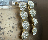 Crystal CZ 4 Round Tier CZ Stone Earrings, Gold | Fashion Jewellery Outlet