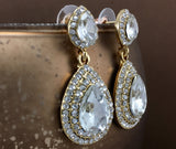 Crystal Big Top and Bottom 2 Row Teardrop Earrings, Gold | Fashion Jewellery Outlet