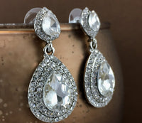 Crystal Big Top and Bottom 2 Row Teardrop Earrings, Silver | Fashion Jewellery Outlet