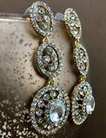 Crystal 3 Tier Circle Long Earrings, Gold | Fashion Jewellery Outlet