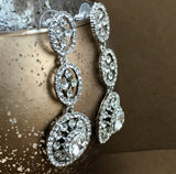 Crystal 3 Tier Circle Long Earrings, Silver | Fashion Jewellery Outlet