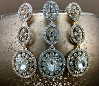 Crystal 3 Tier Circle Long Earrings, Rose Gold | Fashion Jewellery Outlet