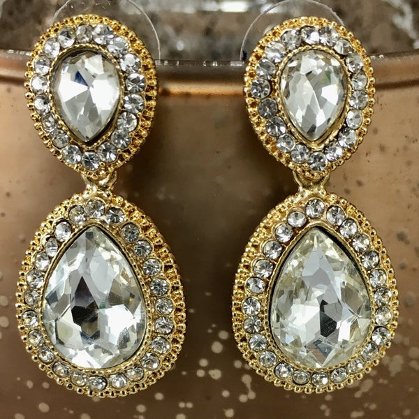 Crystal Wide 2 Teardrop Earrings, Gold | Fashion Jewellery Outlet