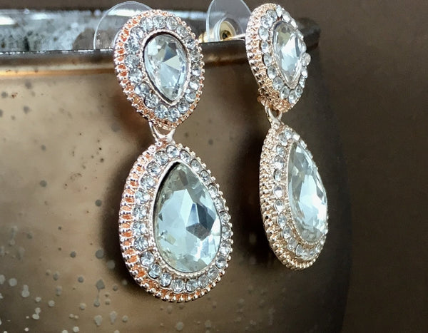Crystal Wide 2 Teardrop Earrings, Rose Gold | Fashion Jewellery Outlet