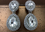Crystal Wide 2 Teardrop Earrings, Silver | Fashion Jewellery Outlet