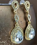 Crystal 3 Tier Open Top Teardrop Earrings Gold | Fashion Jewellery Outlet