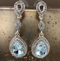 Crystal Top Teardrop Earrings, Rose Gold | Fashion Jewellery Outlet