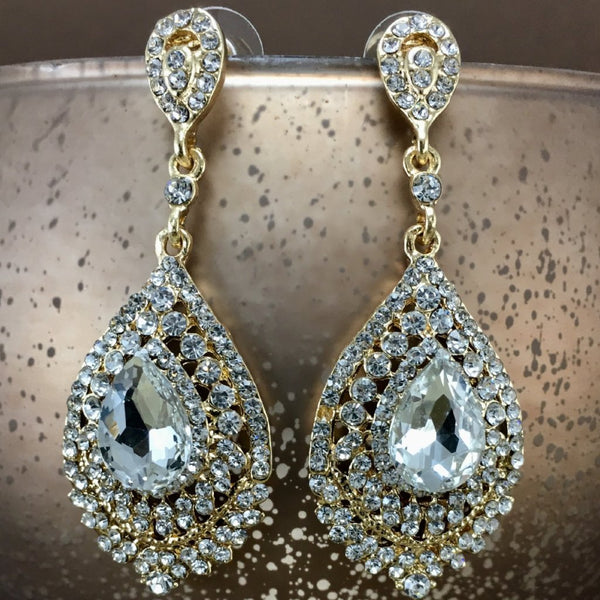Crystal Victorian Teardrop Earrings, Gold | Fashion Jewellery Outlet