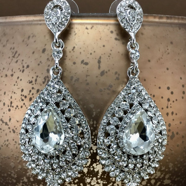 Crystal Victorian Teardrop Earrings, Silver | Fashion Jewellery Outlet