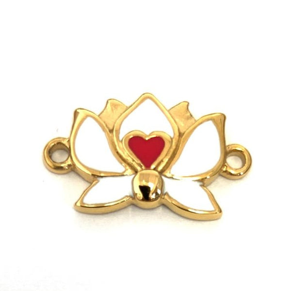 Gold Plated White & Red Enamel Steel Lotus Flower Connector | Fashion Jewellery Outlet