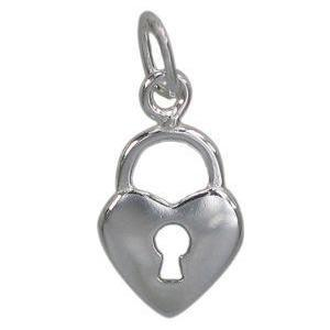Sterling Silver Heart Lock Charm | Fashion Jewellery Outlet