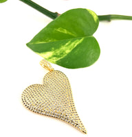 Brass Heart Charm with CZ Pave, Big Heart Gold