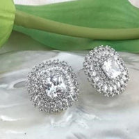 Square Button Shape Studs Bridal Cubic Zirconia Earrings, 18K Plated | Fashion Jewellery Outlet