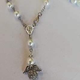 White Pearl Rosary with Angel | Fashion Jewellery Outlet