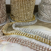 3 Row Rhinestone Chain with Clear Stones | Fashion Jewellery Outlet