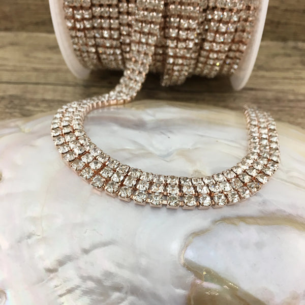 3 Row Rose Gold Rhinestone Chain with Clear Stones | Fashion Jewellery Outlet