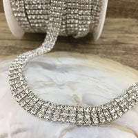 3 Row Silver Rhinestone Chain with Clear Stones | Fashion Jewellery Outlet