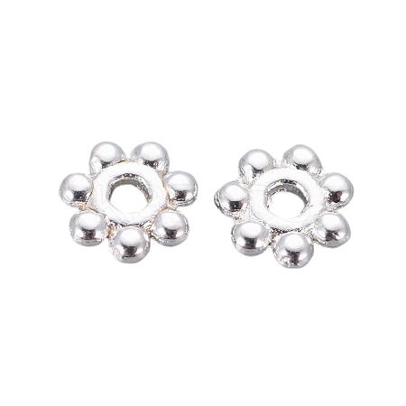 5mm Alloy Silver Plated Daisy Spacers | Fashion Jewellery Outlet