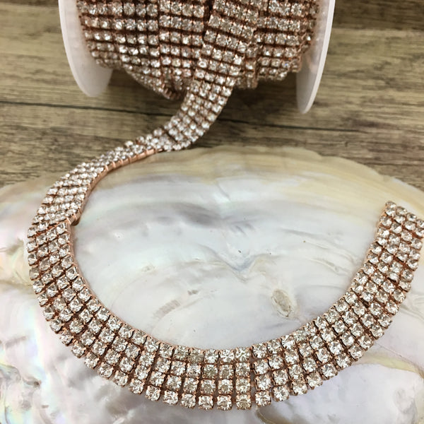 4 Row Rose Gold Rhinestone Chain with Clear Stones | Fashion Jewellery Outlet