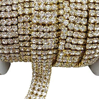 4 Row Gold Rhinestone Chain with Clear Stones | Fashion Jewellery Outlet