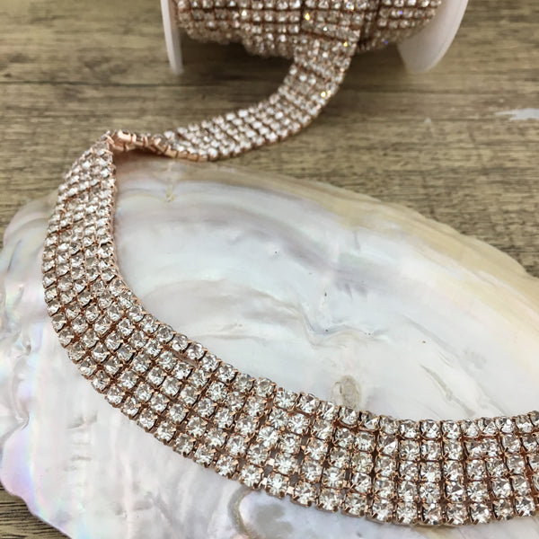 5 Row Rose Gold Rhinestone Chain with Clear Stones | Fashion Jewellery Outlet