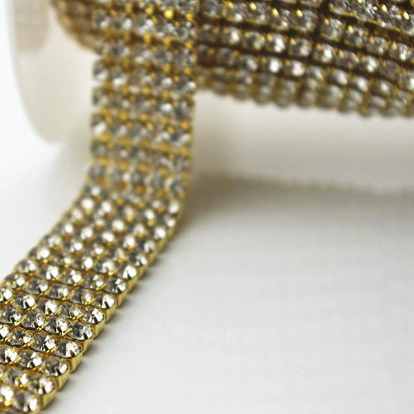 5 Row Gold Rhinestone Chain with Clear Stones | Fashion Jewellery Outlet