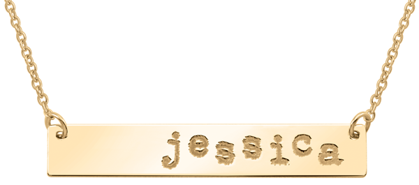 Sterling Silver necklace with personalized text (image shown in Gold)