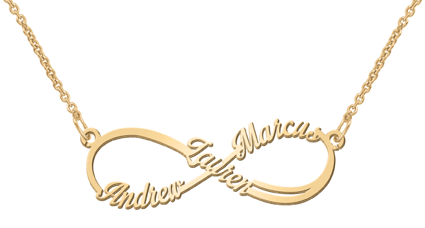 Sterling Silver infinity shape name necklace with personalized text (image shown in Gold)