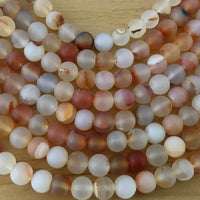 8mm Orange Frosted Agate Bead | Fashion Jewellery Outlet