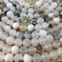 10mm Frosted White Agate Bead | Fashion Jewellery Outlet